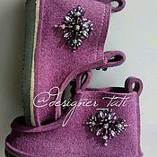 """Обувь ручной работы. Ярмарка Мастеров - ручная работа Валенки, модель """"Фиолетовое созвездие"""". Handmade."""