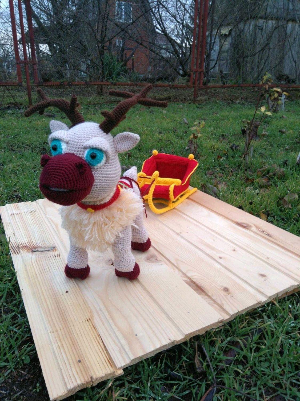 Олень с санями, вязаная  игрушка, Мягкие игрушки, Краснодар,  Фото №1
