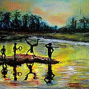 Картины и панно ручной работы. Ярмарка Мастеров - ручная работа Картина маслом Вечер в Индии. Handmade.
