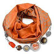 Аксессуары ручной работы. Ярмарка Мастеров - ручная работа Шарф с украшением из бижутерии оранжевый. Handmade.