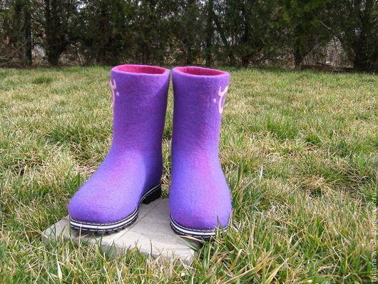 """Обувь ручной работы. Ярмарка Мастеров - ручная работа. Купить Валенки-сапожки """"Сияние-2"""". Handmade. Фиолетовый, обувь для улицы"""