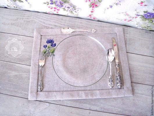 Кухня ручной работы. Ярмарка Мастеров - ручная работа. Купить Три льняные салфетки Цветы. Handmade. Разноцветный, Вышивка крестом