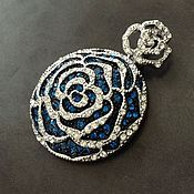 Материалы для творчества handmade. Livemaster - original item Pendant three-dimensional art. 7-65A, in the form of flower with cubic Zirconia. Italy. Handmade.