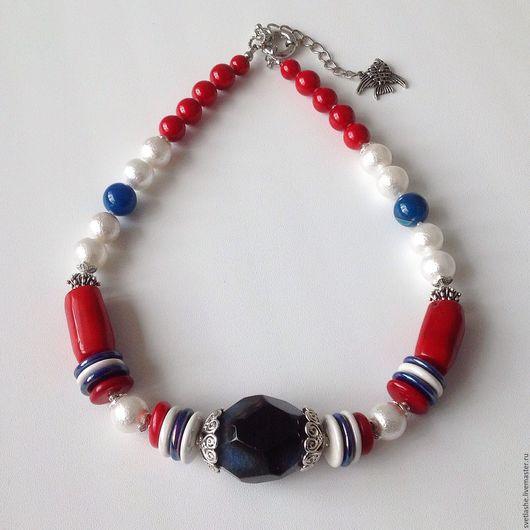 Бусы в морском стиле колье из Агата коралла жемчуга Майорика купить в подарок девушке женщине любимой подруге украшение на шею из натуральных камней