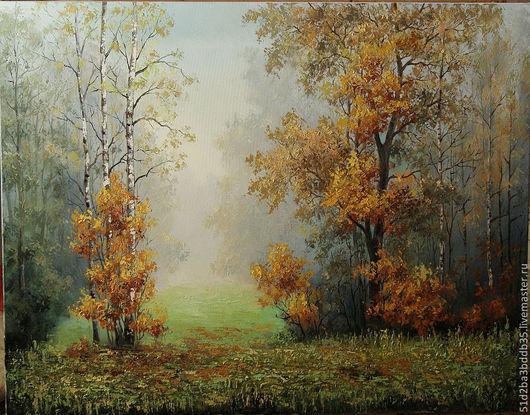 Пейзаж ручной работы. Ярмарка Мастеров - ручная работа. Купить Осенний туман. Handmade. Картина, картина маслом, Живопись, осень