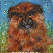 Картины и панно ручной работы. Ярмарка Мастеров - ручная работа Картина маслом на холсте щенок Чау-чау. Handmade.
