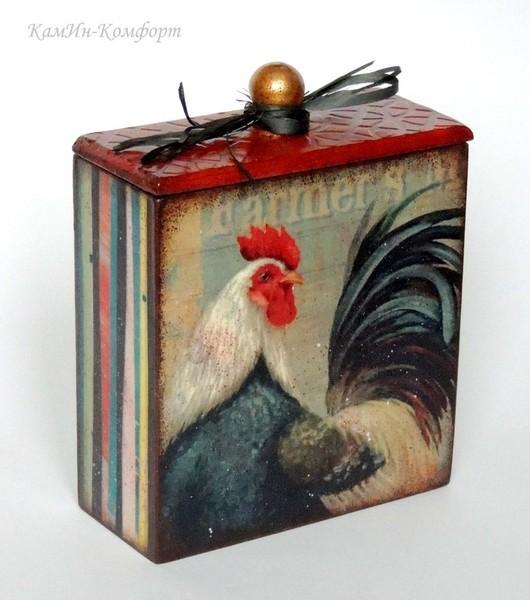 """Кухня ручной работы. Ярмарка Мастеров - ручная работа. Купить Короб для хранения """"Петухи"""" (малый). Handmade. Короб для мелочей, яркий"""