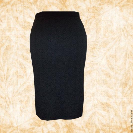 Юбки ручной работы. Ярмарка Мастеров - ручная работа. Купить рельефная  вязаная  теплая юбка. Handmade. Черный, рисунок