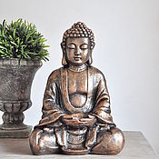 Для дома и интерьера handmade. Livemaster - original item Sculpture-Buddha candle holder for home and garden in concrete grey. Handmade.