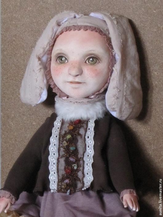 Коллекционные куклы ручной работы. Ярмарка Мастеров - ручная работа. Купить зайка. Handmade. Коричневый, уши, синтепух, кружево