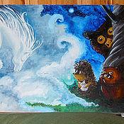 Для дома и интерьера ручной работы. Ярмарка Мастеров - ручная работа Разделочная доска с Ежиком в тумане. Handmade.