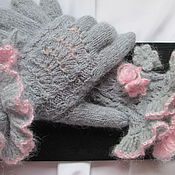 Аксессуары handmade. Livemaster - original item Gloves wave grey kid mohair. Knitted gloves gray. Handmade.