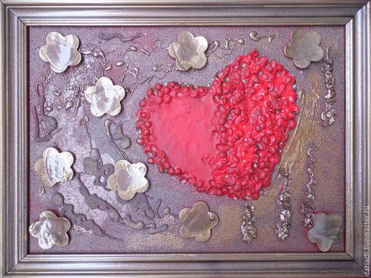 """Абстракция ручной работы. Ярмарка Мастеров - ручная работа. Купить коллаж """"сердце"""". Handmade. Разноцветный, красный, кофе, гравий"""