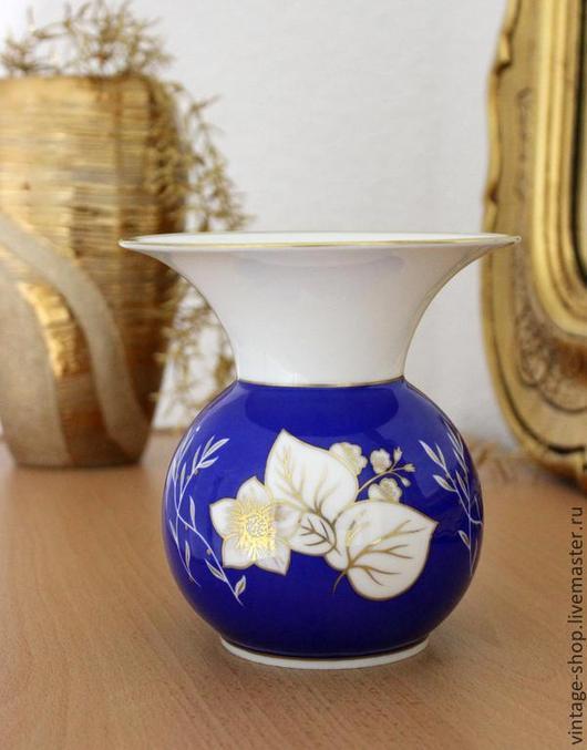 Винтажные предметы интерьера. Ярмарка Мастеров - ручная работа. Купить Фарфоровая ваза для цветов, ручная роспись, клеймо, Германия. Handmade.