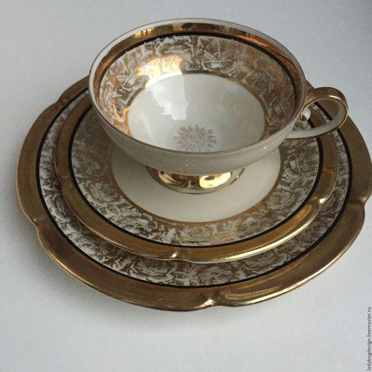Винтажная посуда. Ярмарка Мастеров - ручная работа. Купить Чайная тройка золотая, Германия. Handmade. Комбинированный, сервировка, позолота, тарелочка