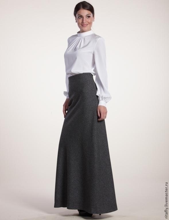 Шелковая белая блузка с длинным рукавом купить в