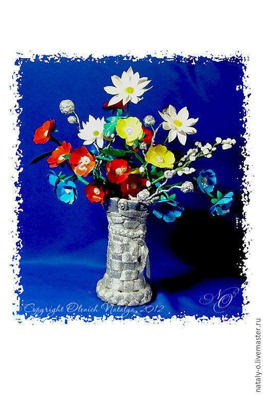 """Интерьерные композиции ручной работы. Ярмарка Мастеров - ручная работа. Купить Интерьерная композиция. """"Букет цветов в плетеной серебристой корзинке"""". Handmade."""