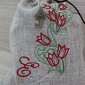 Сувениры и подарки ручной работы. Ярмарка Мастеров - ручная работа Льняной мешочек Монограмма с вышивкой. Handmade.