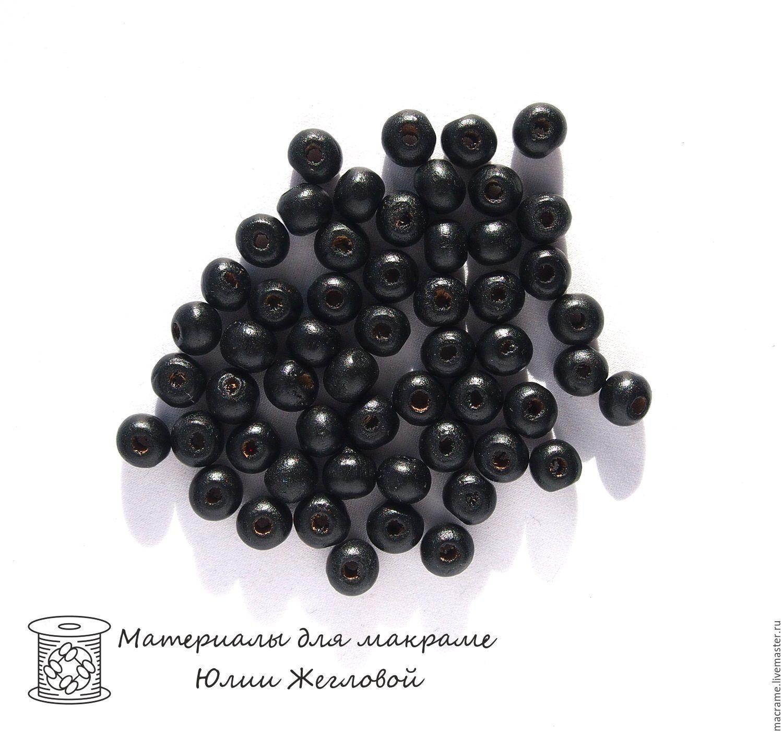 Бусины деревянные 8х7 мм круглые черные 40 штук, Бусины, Нижний Новгород,  Фото №1