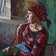 Люди, ручной работы. Ярмарка Мастеров - ручная работа. Купить Портрет по фото. Женщина в красном 40х60. Handmade. Бордовый, красный