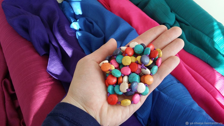 Cotton-crash: cherry, Fig, malachite, Fabric, Moscow,  Фото №1