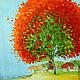 Пейзаж ручной работы. Ярмарка Мастеров - ручная работа. Купить Дерево - Авторская картина маслом на холсте. Handmade. Оранжевый, голубой