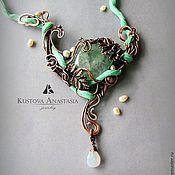 """Украшения ручной работы. Ярмарка Мастеров - ручная работа Колье wire wrap """"Весенний лес"""" из меди. Handmade."""