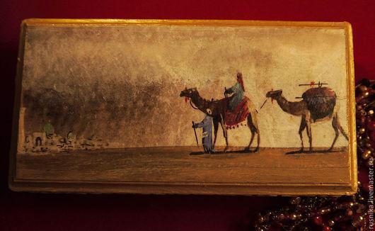 Шкатулки ручной работы. Ярмарка Мастеров - ручная работа. Купить Купюрница-шкатулка Оазис в пустыне. Handmade. Золотой, подарок мужчине