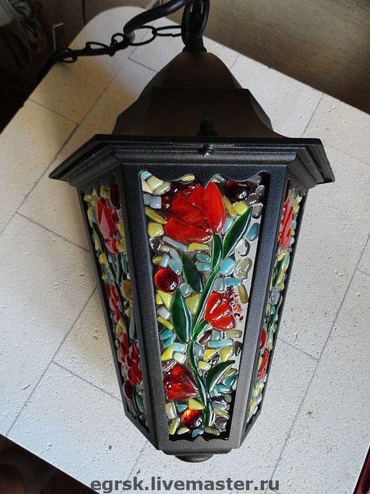 """Освещение ручной работы. Ярмарка Мастеров - ручная работа. Купить Фонарь """"Белая ночь"""", фьюзинг. Handmade. Фонарь, светильники, стекло"""