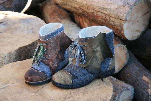 Обувь ручной работы. Ярмарка Мастеров - ручная работа. Купить Шаман и подруга. Handmade. Серый, обувь, кожа