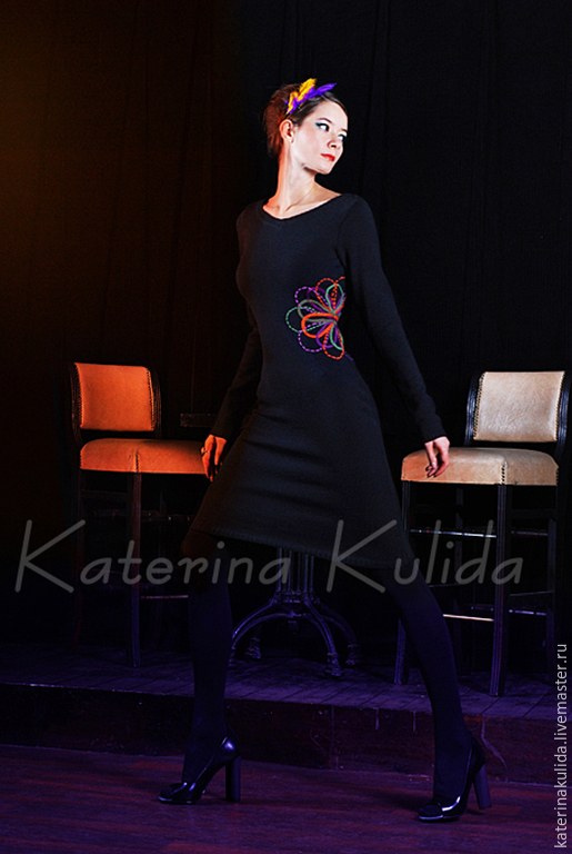 Платья ручной работы. Ярмарка Мастеров - ручная работа. Купить Платье с вышивкой. Handmade. Черный, маленькое черное платье