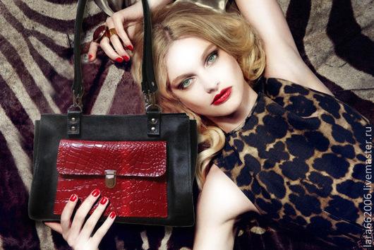 Женская, кожаная сумка, офисный стиль, черная с красным сумка, сумка в подарок, оригинальная сумка, сумка на каждый день, женская сумка, кожаная сумка, авторская сумка, сумка ручной работы, сумка из к