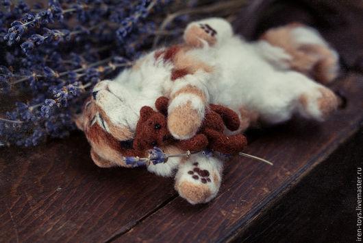 Куклы и игрушки ручной работы. Ярмарка Мастеров - ручная работа. Купить Спящий котенок. Handmade. Рыжий, кот с игрушкой