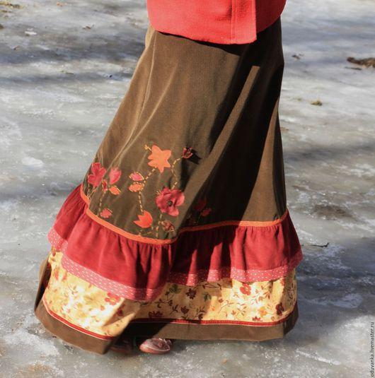 """Юбки ручной работы. Ярмарка Мастеров - ручная работа. Купить Вельветовая юбка """"Цветочная"""". Handmade. Юбка, Оригинальная одежда, бордовый"""