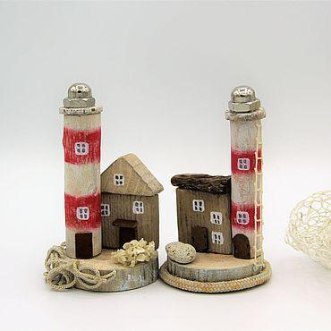 Для дома и интерьера ручной работы. Ярмарка Мастеров - ручная работа Домик дрифтвуд с маяком Свет на море красный деревянный. Handmade.