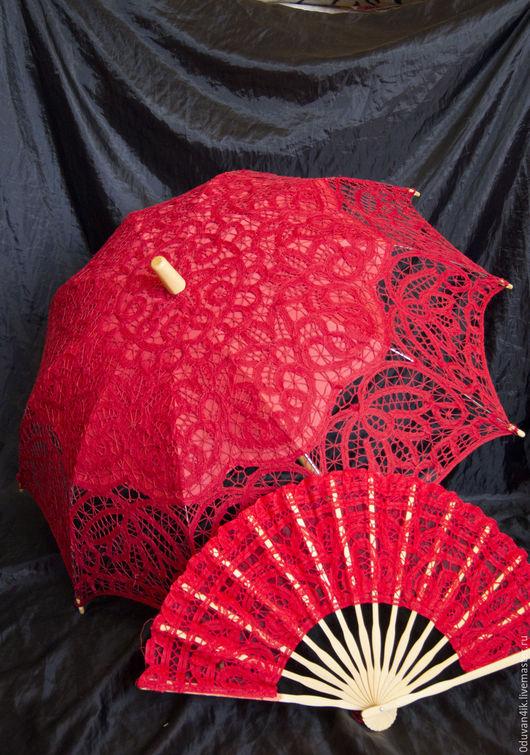 Зонты ручной работы. Ярмарка Мастеров - ручная работа. Купить Комплект зонт+веер(красный). Handmade. Ярко-красный, веер, свадебные аксессуары