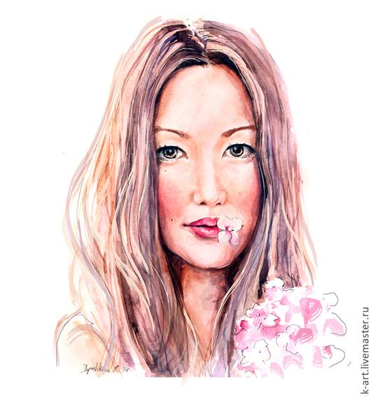 Люди, ручной работы. Ярмарка Мастеров - ручная работа. Купить Портрет девушки для печати на холсте. Handmade. Бледно-розовый