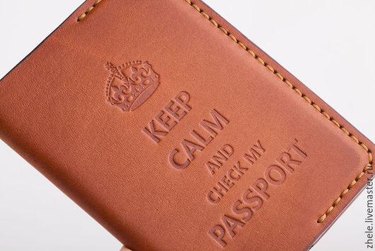 """Обложки ручной работы. Ярмарка Мастеров - ручная работа. Купить Обложка для паспорта """"KEEP CALM"""". Handmade. Бежевый, обложка из кожи"""
