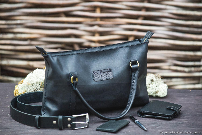 Мужские сумки ручной работы. Ярмарка Мастеров - ручная работа. Купить Легкая кожаная сумка, прошита ручным швом. Handmade.