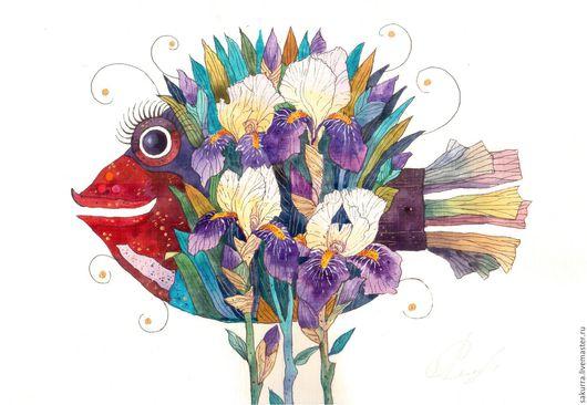 Картины цветов ручной работы. Ярмарка Мастеров - ручная работа. Купить Ирисы. Handmade. Комбинированный, рыбы, изысканность, картина в подарок