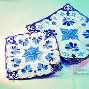 Посуда handmade. Livemaster - original item Set saucers Blue patterns, glass fusing. Handmade.