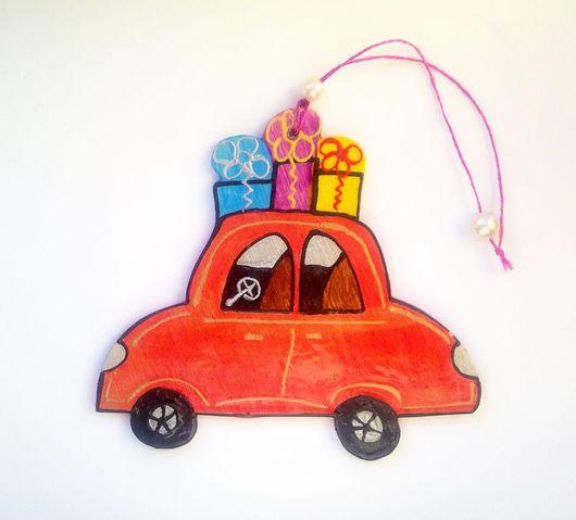 """Новый год 2017 ручной работы. Ярмарка Мастеров - ручная работа. Купить """"Любимое авто"""",  интерьерное украшение. Handmade. Ярко-красный"""