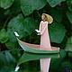 """Статуэтки ручной работы. Ярмарка Мастеров - ручная работа. Купить """"Лада"""". Handmade. Кремовый, зеленый, дева, девушка, лодка, вода"""