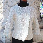 Одежда ручной работы. Ярмарка Мастеров - ручная работа Валяный жакет Бело-голубой. Handmade.