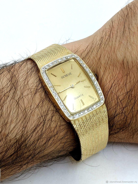 3bc5541f Винтаж: Золото 585! Мужские Антикварные золотые часы ручной работы Geneve.