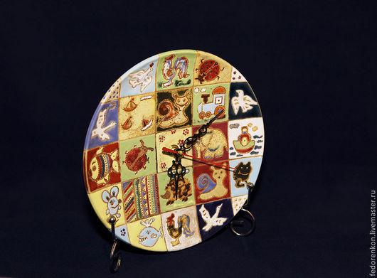 Часы для дома ручной работы. Ярмарка Мастеров - ручная работа. Купить Керамические детские часы Яшино детство. Handmade. Разноцветный