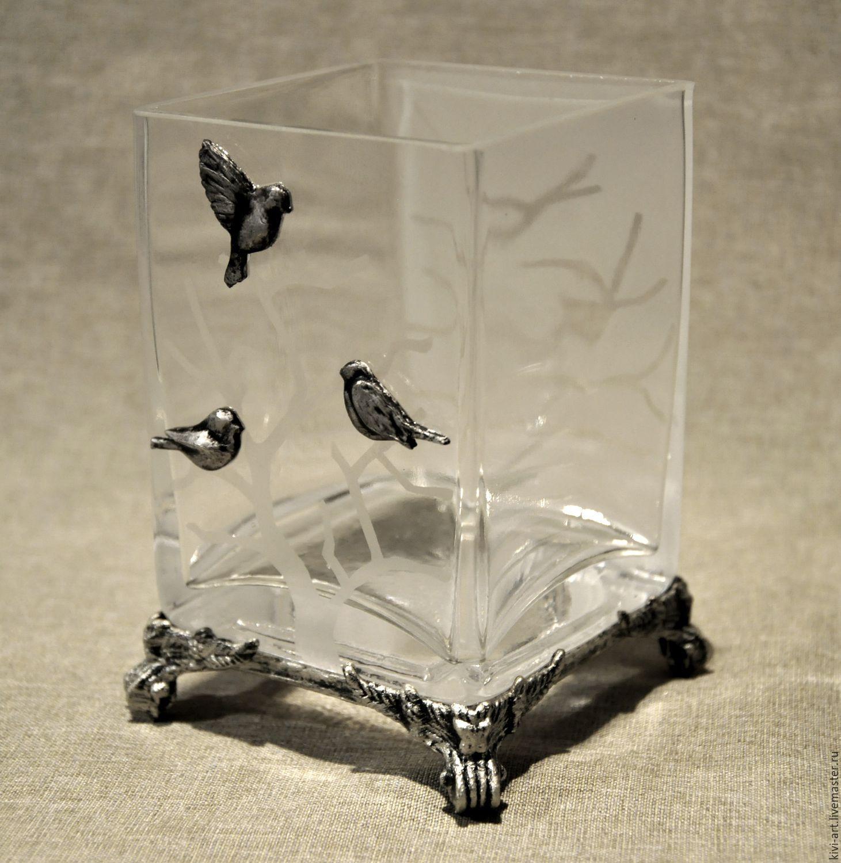 Ваза `Зимний пейзаж`,стекло Кисель Вероника