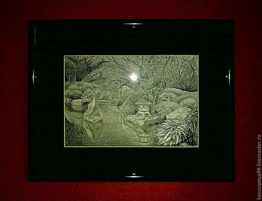 Пейзаж ручной работы. Ярмарка Мастеров - ручная работа. Купить Японский сад. Handmade. Черный, ахроматический, пейзаж, сад, япония