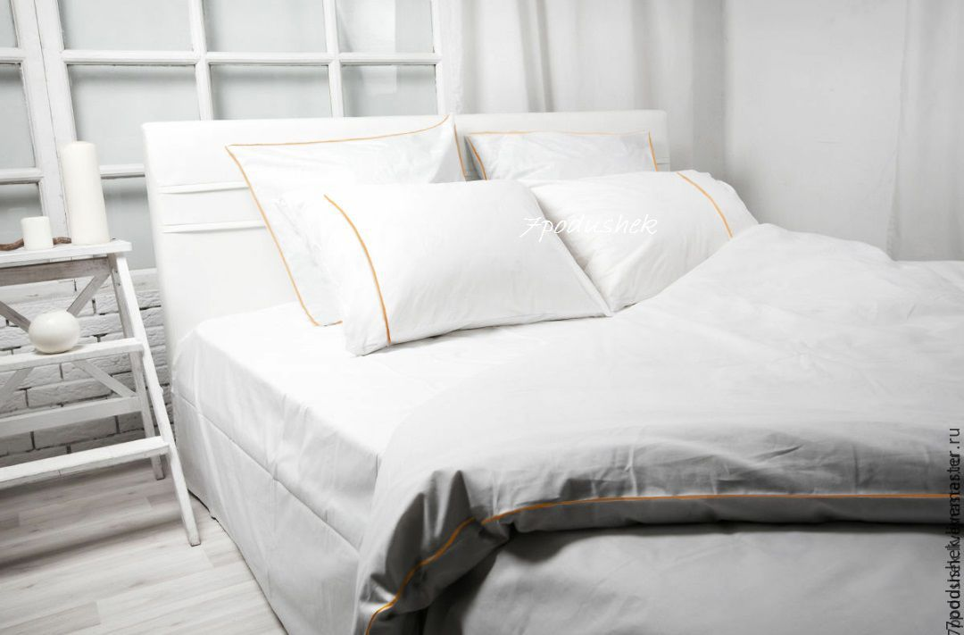 White bedding. White duvet cover. White Linen Duvet Cover Set, Bedding sets, Moscow,  Фото №1