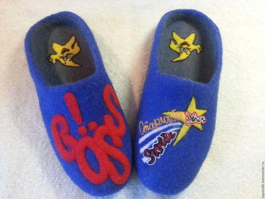 Обувь ручной работы. Ярмарка Мастеров - ручная работа. Купить валяные тапочки Ваш логотип. Handmade. Синий, белый